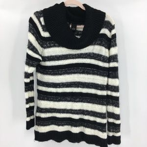 New Directions Black White Cowl Neck Sweater